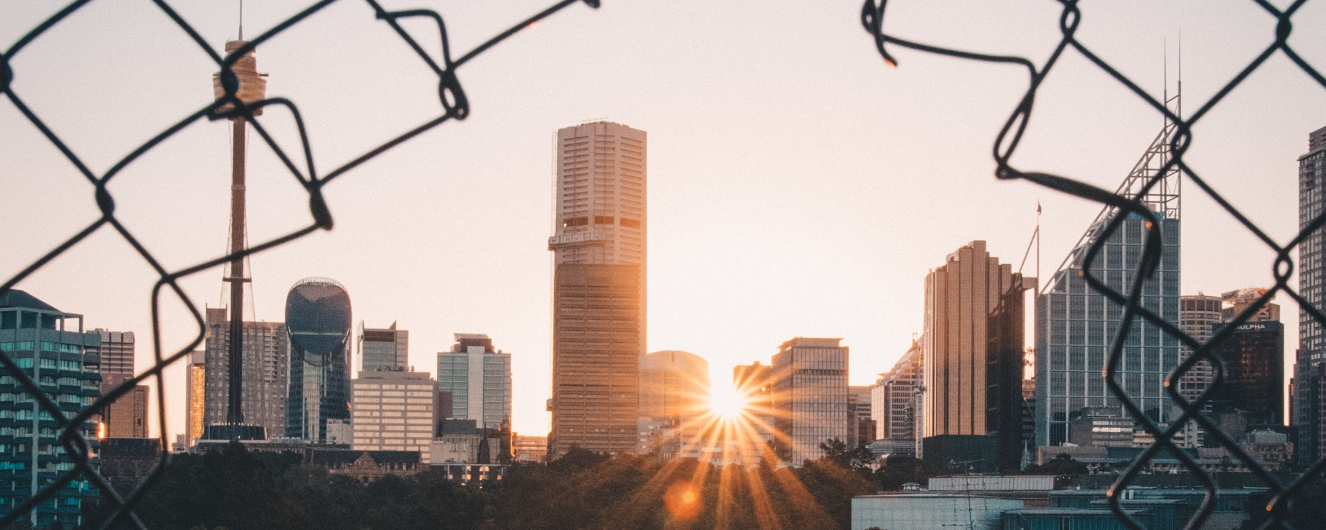 An image of a cityscape through a hole in a chain link fence