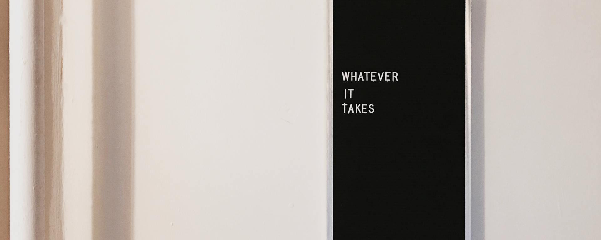 An image of a sign stating 'whatever it takes'.